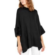 Alfani Women's Faux-Fur-Cuff Poncho Black