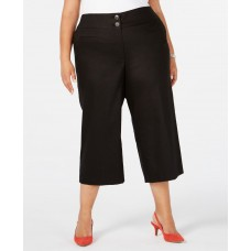 Alfani  Women's Plus Size High-Waist Wide-Leg Capris Black Size 18W