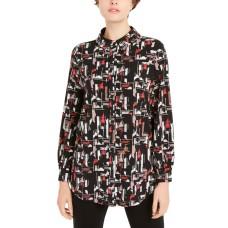 Alfani Women's Printed Collared Shirt (Black, X-Large)