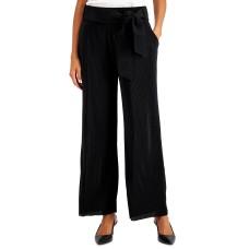 Alfani Women's Tie-Front Wide-Leg Pants (Black, X-Small)