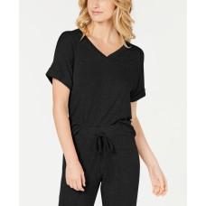 Alfani Women's Ultra Soft Ribbed Knit Pajama Top (Black, Medium)