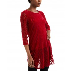 Alfani Zebra-Print Burnout Layered Tunic (Dark Red)