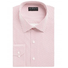 AlfaTech by Alfani Men's Slim-Fit Stretch Easy-Care Dress Shirt (white Red, 17-17.5, 34/35)