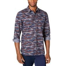 American Rag Men's Camo Grindle Shirt (Navy, L)