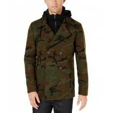 American Rag Men's Layered Camo Pea Coat (Green, XXL)