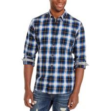 American Rag Men's Plaid Plus Flannel Shirt (Navy, XL)