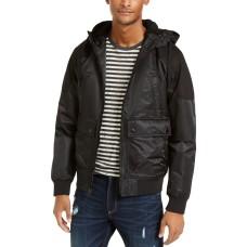American Rag Men's Ross Hooded Bomber Jacket (Black, M)