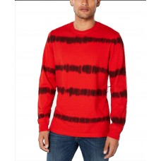 American Rag Men's Tie Dye Striped Long-Sleeve T-Shirt (Red, XL)