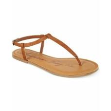 American Rag Women Akrista Leather Open Toe Casual T-strap  Cognac Shoe Size 9.5