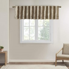 Andora Embroidered Rod Pocket Valance , Tree Small Faux Silk Valances for Window (Beige, 50X18″)