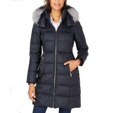 Andrew Marc Hooded Fur-Trim Puffer Coat (Black, L)