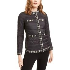 Anne Klein Womens Black Quilted Tweed Trim Puffer Jacket Coat (Black, X-Small)