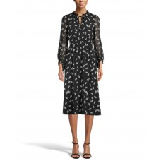 "Anne Klein Women""s Floating Leaves Smocked Dress (Black, Large)"