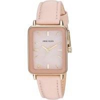 Anne Klein Women's Gold-Tone and Leather Strap Watch (Gold/Blush Pink)