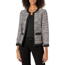 Anne Klein Women's Open Front Tweed Framed Jacket with Patch Pockets (Devonshire Combo, 14)