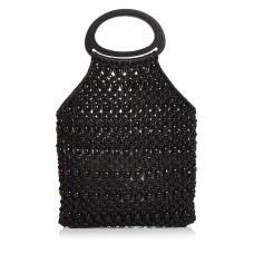 Aqua Crochet Beaded Bag, Black