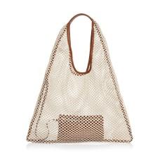 Arron Large Net Hobo Handbag, Beige