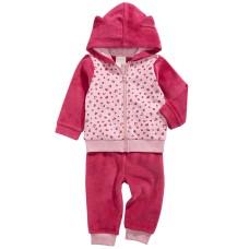 Baby Girls 2-Pc. Leopard-Print Minky Hoodie & Pants Set (Pink, 24M)