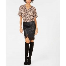 Bar III Faux-leather Lace Trim Asymetrical Skirt (Black, XS)