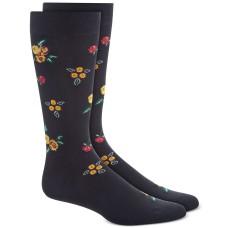 Bar III Men's Black Rose Floral Socks (Black, 10-13)