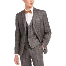 Bar III Men's Slim-Fit Gray/Brown Plaid Suit Separate Jacket (Gray, 38 R)