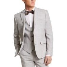 Bar III Men's Slim-Fit Gray Plaid Linen Suit Jacket (Gray Plaid)