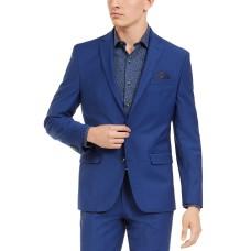 Bar Iii Men's Slim-Fit PerFormance Active Stretch Blue Sharkskin Suit Separate J