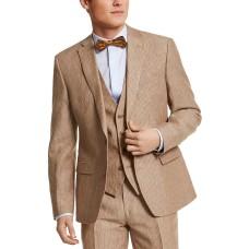 Bar III Men's Slim-Fit Pinstripe Linen Suit Jacket (Beige, 38)