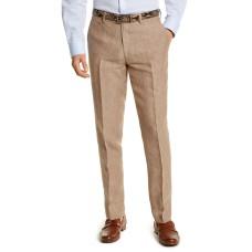 Bar III Men's Slim-Fit Tan Pinstripe Linen Suit Separate Pants (Beige 32×32)