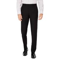 Bar III Men's Slim-Fit Tonal Plaid Dress Pants (Black, 34X30)