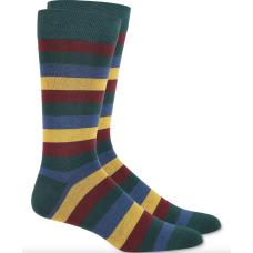 Bar Iii Mens Stripe Socks (Green, 10-13)