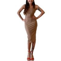 Bar III Ribbed Bodycon Dress (Beige, X-Large)
