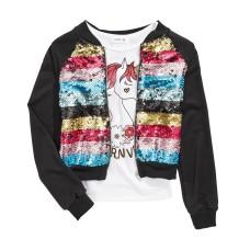 Beautees Big Girls 2-Pc. Flip Sequin Bomber Jacket & Unicorn-Print Tank Top Sets