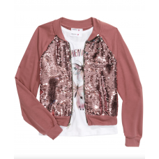 Beautees Big Girls 2-Pc. Flip Sequins Bomber Jacket & Just Believe Tank Top Large