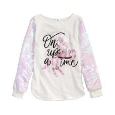 Beautees Big Girls Flip Sequin Unicorn T-Shirt, White, M