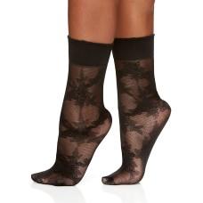 Berkshire Women's Rose Floral Anklet Socks (Black, 6-9)