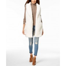 Betsey Johnson Teddy Faux-Fur Vest (Natural, XS/S)