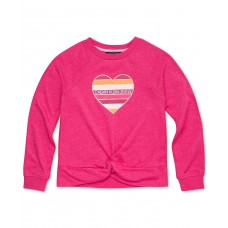 Calvin Klein Big Girls Twist-Front Sweatshirt (Bright Pink, 8-10M)