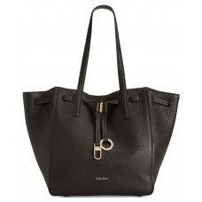 Calvin Klein Drawcord Ring-Tab Pebble Leather Tote (Black, Large)