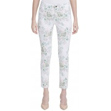 Calvin Klein Floral-Printed Polished Mid-Rise Pants (White Floral/6)