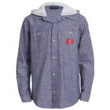 Calvin Klein Jeans Big Boys Iconic Hooded Denim Shirt (Navy, 8)