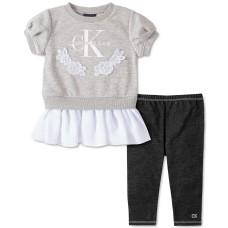 Calvin Klein Little Girls 2-Pc. Peplum Sweatshirt & Leggings (Assorted, 6X)