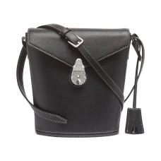 Calvin Klein Lock Leather Bucket Bag, Black