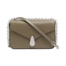 Calvin Klein Lock Leather Shoulder Bag, Beige