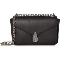Calvin Klein Lock Leather Shoulder Bag, Black/Silver