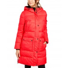Calvin Klein Oversized Hooded Puffer Coat (Red, M)