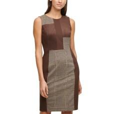 Calvin Klein Women's Mixed-Media Plaid Sheath Dress (Multi Color, 4)