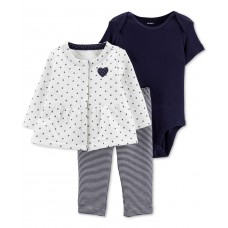 Carter's Baby Girls 3-Pc Jacket Bodysuit & Leggings Set (White, Newborn)