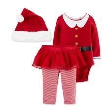 Carter's Baby Girls 3-Pc. Santa Hat, Bodysuit & Tutu Pants Set (Red, 3 Months)