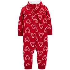 Carter's Baby Girls Candy Cane Fleece Coverall (Red, Newborn)